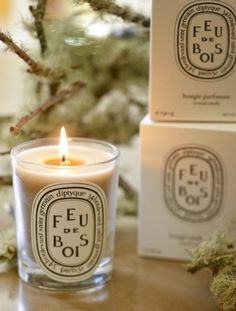 Diptyque Feu de Bois...the warm, familiar, sophisticated accord of rare woods throughout the long winter days
