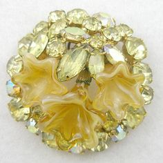 Very unusual Weiss Yellow Art Glass& Rhinestone Brooch - Garden Party Collection Vintage Jewelry
