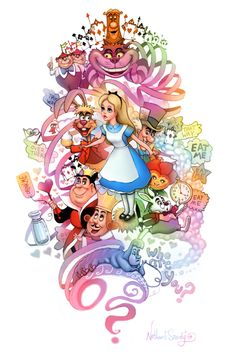 Further down the rabbit hole by Nathan Szerdy Alice And Wonderland Tattoos, Alice In Wonderland Party, Disney Drawings, Cute Drawings, Chesire Cat, Pinturas Disney, Disney Tattoos, Disney Fan Art, Disney Wallpaper