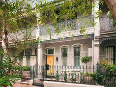 3 levels of Paddington, Sydney terrace house redesigned as a luxurious inner city pad. Terrace House Exterior, Victorian Terrace House, House Paint Exterior, Facade House, Victorian Homes, House Facades, Australian Architecture, Australian Homes, House Color Schemes
