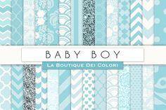 Baby Boy Digital Papers By La Boutique Dei Colori