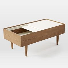 storage coffee table - This Double Storage coffee table from West Elm features a space-saving design that is both elegant and practical. The home retailer's sophist. Furniture Decor, Modern Furniture, Furniture Design, Outdoor Furniture, Sofa Tables, Coffee Table With Storage, Dream Decor, Furniture Inspiration, Small Spaces