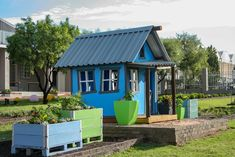 Be your own vegetable farmer at the Herb Farm Play Yard, touch, taste, smell and interact Herb Farm, Play Yard, Backyard Playground, Farm Yard, Kids Playing, Shed, Herbs, Outdoor Structures, Grandchildren