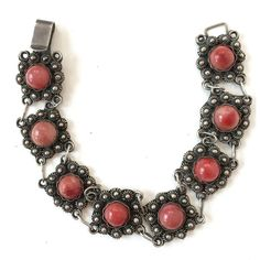 Vintage Pink Quartz Filigree Sterling Silver Bracelet Rose Red... (€79) ❤ liked on Polyvore featuring jewelry, bracelets, vintage jewelry, vintage sterling silver bangles, sterling silver bangles, stone jewelry and red jewelry