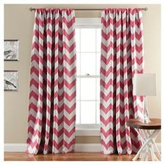Chevron Blackout Curtain Panels Set of 2 - PINK