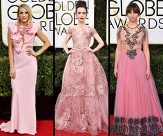 Pink dresses at the #GoldenGlobes