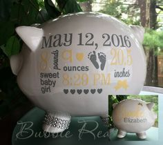 Personalized piggy bank baby boy piggy bank baby boy gift piggy personalized piggy bank baby birth stats gift baby girl piggy bank baby girl gift piggy bank new baby gift baby bank negle Choice Image