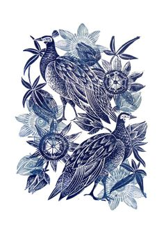 Peahen and Passion Flower limited edition lino cut print Amanda Colville Mangle Prints £45.00