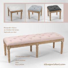 Bancos y banquetas tapizadas en lino para tus estancias más especiales. ¿Dónde prefieres, en el dormitorio o en el recibidor? http://elhogarideal.com/es/12-muebles