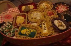 Many unique textile brooches and pins from my workshop. http://de.dawanda.com/shop/ursulavongranegg/1125205-Broschen-und-Anstecker - Facebook page: https://www.facebook.com/Wilhelmine-Wiesenkraut-802474093168101/timeline/?ref=hl