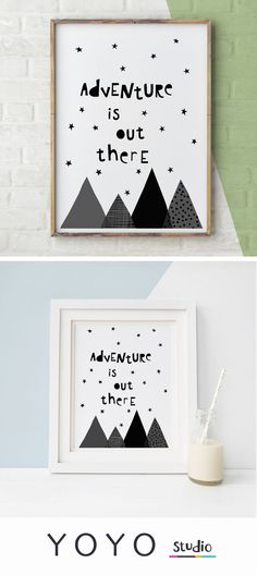 Adventure is out there print, motivational typography for kids rooms to inspire some wanderlust and spirit of adventure. A printable download poster from Emma K Henderson on Etsy