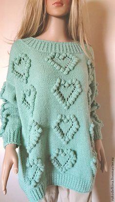 """Knitted sweater / Кофты и свитера ручной работы. Ярмарка Мастеров - ручная работа. Купить Свитер с """"шишечками"""". Handmade. Мятный, шишечки, неколючий свитер"""