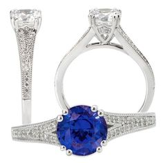 Custom Made Ki-117251-100bs  Elite Collection Lab-Created 6.5mm Round Blue Sapphire Engagement Ring