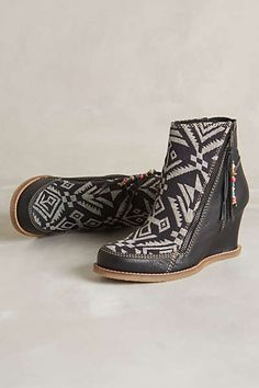 Anthropologie - Tapestry Wedge Boots