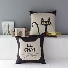 Sofa Decor Cotton Linen Throw Cute Pillow Case Cushion Cover Square Cartoon Cat  #Unbranded