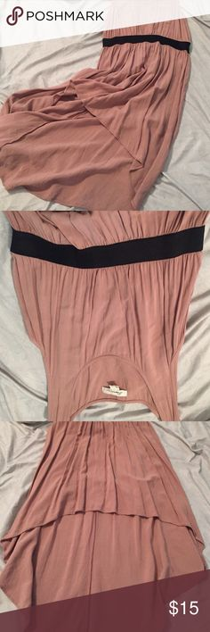 Nude/black sleeveless forever 21 size large Dress is nude with black band at waist short in front long in back sleeveless very comfortable great look with sandals needs nothing else Forever 21 Dresses