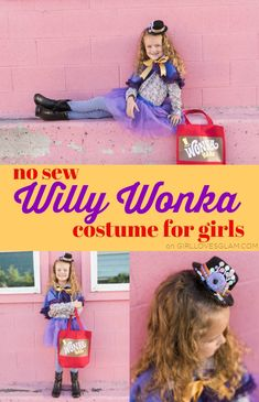 Simple Willy Wonka costume for girls. No sewing required! Easy Willy Wonka costume for women or girls to use. Perfect for Willy Wonka family costume! Cute Kids Halloween Costumes, Handmade Halloween Costumes, Halloween Sewing, Fun Halloween Crafts, Scary Halloween Decorations, Family Costumes, Diy Costumes, Costume Ideas, Halloween Ideas
