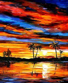 Tropical Sunset  PALETTE KNIFE Landscape Oil por AfremovArtStudio