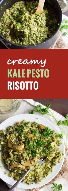Sautéed mushrooms and arborio rice are dressed in creamy cashew milk and garlicky kale pesto to make this decadent and vegan kale pesto risotto. @lovemysilk  #LoveMySilk #ad