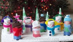 Cardboard Tube Children and Snowmen- perfect winter craft for children to learn how to reuse household items!