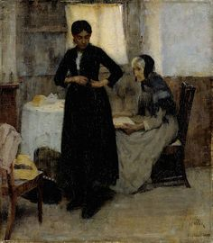 "Maria Wiik:  ""Out into the World"", 1889,  oil on canvas, Dimensions: 69 × 61 cm, Lieu actuel:	  Musée Ateneum (Helsinki)."