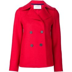 Harris Wharf London short peacoat ($700) ❤ liked on Polyvore featuring outerwear, coats, red, short peacoat, red coat, short coat, pink pea coat and pink peacoat