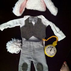 White Rabbit (from Alice in Wonderland) costume for newborn :) everything in this picture was made from scratch except the white onesie! SO CUTE!!