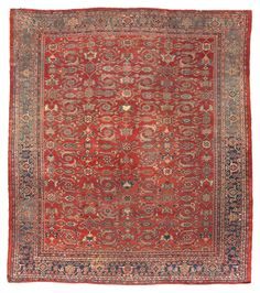Antique Persian Mahal | From a unique collection of antique and modern persian rugs at https://www.1stdibs.com/furniture/rugs-carpets/persian-rugs/