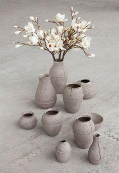 Serax Paper Pulp Vases by Debbie Wijskamp, collection in gray, Gardenista