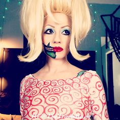 Martian girl from Mars Attacks costume and makeup. Cosplay