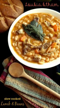 Algerian White Bean Stew With Lamb / Loubia à la viande / Loubia b'lham via The Teal Tadjine | Mediterranean-Inspired Family Traditions