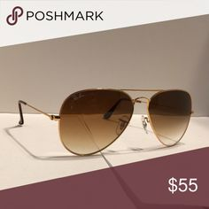 977102df242 New Ray-Ban Aviator Sunglasses Gold Brown Gradient One of the most iconic  sunglasses