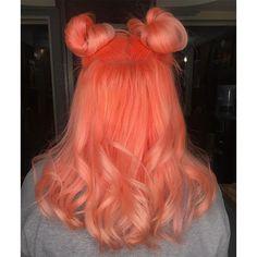 Neon peach hair color (clean vibrant peach) in 2019 Peach Hair Colors, Hair Dye Colors, Cool Hair Color, Coral Hair, Exotic Hair Color, Unnatural Hair Color, Orange And Pink Hair, Neon Green Hair, Bright Hair Colors