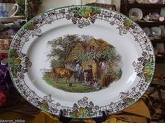 Spode Copeland Byron Pastoral Brown Transferware Platter Cattle Child Dog The Cow Doctor - Nancy's Daily Dish