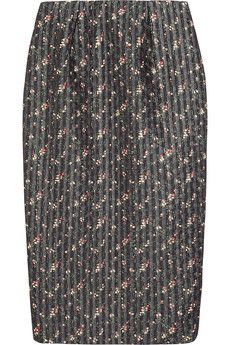 Victoria Beckham Floral-print organza and wool-blend pencil skirt | NET-A-PORTER