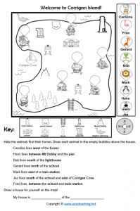 Mapping Skills Worksheets: Coordinates, Direction • EasyTeaching.net