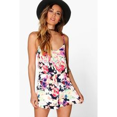 Boohoo Sophie Multi Floral Ruffle Hem Playsuit ($20) ❤ liked on Polyvore featuring jumpsuits, rompers, multi, floral rompers, floral print romper, floral romper, party rompers and flower print romper