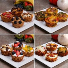 SWEET POTATO HASH CUPS - 4th muffin -  Grate 1 sweet potato,  ¼ cup panko ( breadcrumbs baked 15 mins) or flour,  2 Tb coconut oil  1 ts garlic powder  ½ ts salt  ½ ts pepper  BAKE 30 mins 180C -  FILLINGS - make well in each -  Broccoli  cheese,  Onion,  Capsicum,  Eggs  Bacon,  Salt Pepper Meal Prep Breakfast, Healthy Breakfast Muffins, Clean Eating Breakfast, Vegetarian Breakfast, Muffin Tin Breakfast, Yogurt Breakfast, Healthy Oatmeal Muffins, Oatmeal Breakfast Muffins, Baked Oatmeal Cups