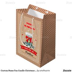 Happy Holidays. Fun Christmas Candle with Kraft paper effect background Design Christmas Gift Bags with personalized name. at zazzle.com