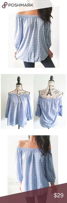 "Romeo & Juliet Couture Off The Shoulder Top This top has a light blue chambray like fabric with a white floral pattern stitched on it. This top has dramatic billowy sleeves & the shoulders are stretchy, giving it a flirty off shoulder look {actual color of item may vary slightly from pics}  *chest:21"" *waist:24"" *length:23"" *sleeves:18"" *material/care:100%cotton/hand wash  *fit:billowy might work for med  *condition:newer/no visible signs of wear/no rips/stains  20% off bundles of 3/more…"