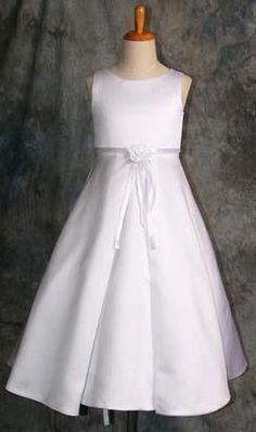 vestido comunión corte imperio con cinta fina