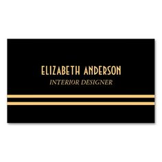 Art Deco Stylish Lines - Gold & Black Business Card Template