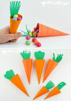 Great for kids! Easy carrot Easter baskets! Simple paper carrot cones, perfect for little Easter treats!