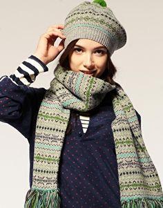 knitspiration-Jo Gordon Fairisle Over Size Pom Pom Beanie, love the colors