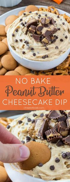 Creamy, smooth, completely addictive peanut butter cheesecake dip is the perfect treat for get togethers, movie nights, potlucks, or whenever you're looking for a seriously delicious peanut butter treat! #dips #partyfood #peanutbutter #cheesecake #nobake #peanutbuttercups