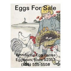 Vintage Girl With Chickens, E is an Egg Personalized Flyer