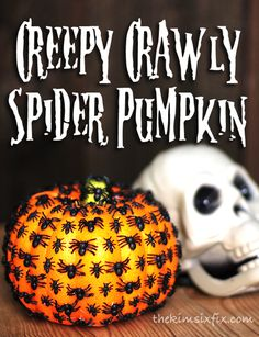 Dollar store pumpkin covered in plastic spiders. So creepy and the perfect black and orange halloween accessory!