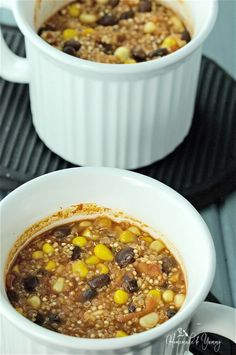 Easy Mexican Quinoa Individual Mini Casseroles (Oven & Microwave) - omit cheese for the vegan version