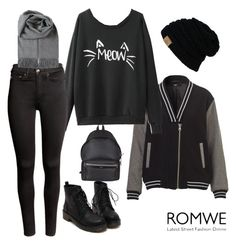 """""""ROMWE CONTEST"""" by azra-2709 ❤ liked on Polyvore featuring mode, H&M et Yves Saint Laurent"""
