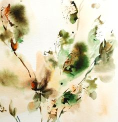 Abstract Original Watercolor Painting, Nature Inspired Painting, Green Painting, Watercolour Art by CanotStop on Etsy